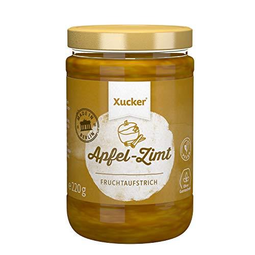 Xucker Fruchtaufstrich Apfel-Zimt gesüßt mit Xylit - 74% Früchte, im 220g Glas, Made in Berlin- vegan, ohne Gentechnik