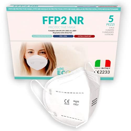 5 piezas - Mascarillas FFP2 Homologadas y Certificadas CE - 5 capas, Blanca reutilizable | 100% hechas en Italia - Certificación CE 2233 | BFE ≥ 94%, Desechable