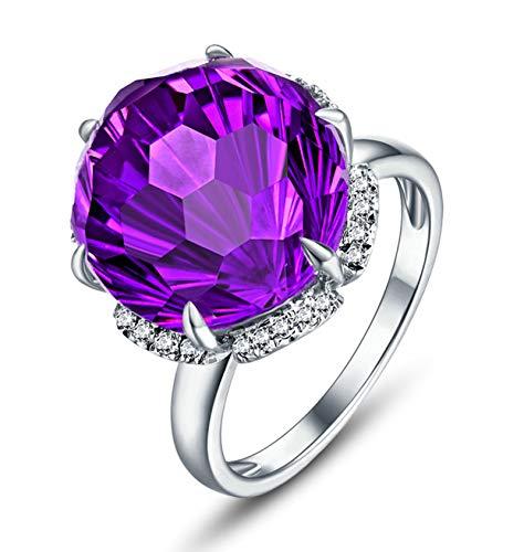 Blisfille Anillo de Compromiso Diamante Joyería Anillo 18 Kilates de Amatista Anillo de Plata,Talla de 11 (Tamaño Personalizable)