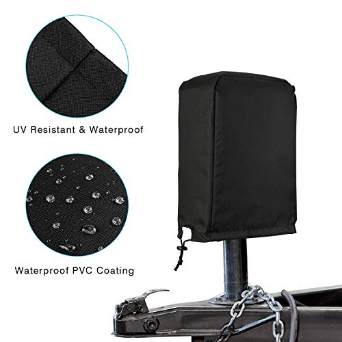 Black Electric Tongue Jack Cover Protective For RV Travel Trailer Camper //