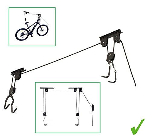 UNIVERSALER Deckenlift Fahrradlift Fahrrad Deckenbefestigung Fahrradaufhängung Deckenhalter 20kg Fahrradhalter Seilzug für Bike Fahrrad etc für Garage Keller Wohnung und Haus stabil und sicher