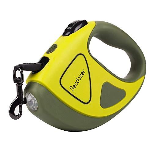 Readaeer-Guinzaglio Automatico Retrattile in Nylon con Torcia a LED per Cane e Gatto, Piccola e Media Taglia Fino a 50 kg