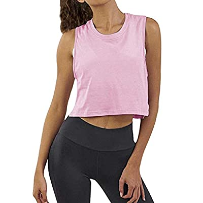 RAINED-Women's Solid Color Crop Top Crewneck Cami Workout Basic Shirts Gym Fitness Tops Short Sleeve Crop Top Tees