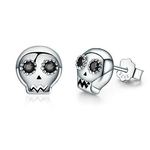 Tiny Skull Stud Earrings for Women Girls Men 925 Sterling Silver Black Crystal Eye Devil Ghost Studs Tragus Hypoallergenic Fashion Punk Post Pin Unisex Halloween Gifts