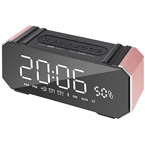 FPRW dubbele wekker digitaal, lijn Tf in radio FM 10 W Bluetooth luidspreker, muziekspeler stereo van aluminium zonder Philips, display ondersteuning, roze