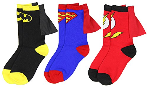 DC Comics Superhero Batman Superman The Flash Youth Boys Caped Crew Socks (3 pack crew socks, 4-6)