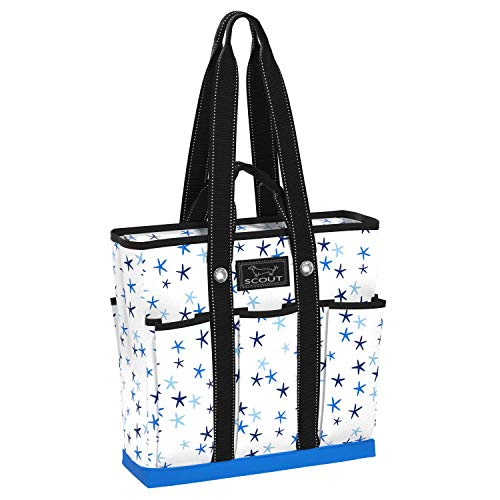 SCOUT Pocket Rocket Tote, Large Tote Bag with 6 Exterior Pockets & Interior Zippered Compartment, Utility Tote Bag for Teachers and Nurses in Star Lineup Pattern (Multiple Patterns Available)