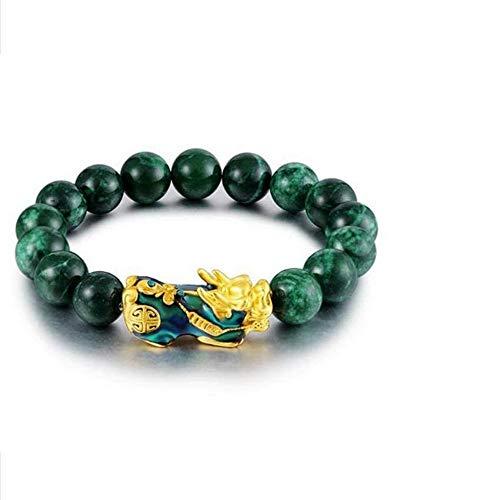 MTDH Pulsera de ágata Verde Natural, Pulsera de Piedra de energía Ajustable con Encanto de Oro pixiu para Mujeres Hombres