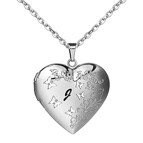AMATOLOVE Locket Necklace with 20' Stainless Steel Chain Necklaces Heart Lockets Letter J Womens Gifts Personalised Jewellery