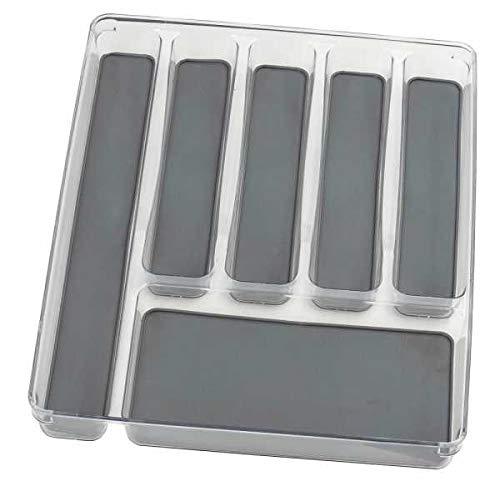 WENKO Besteckkasten 6 Fächer - Besteckeinsatz für Schubladen, Kunststoff (PET), 32 x 4.5 x 40 cm, Transparent