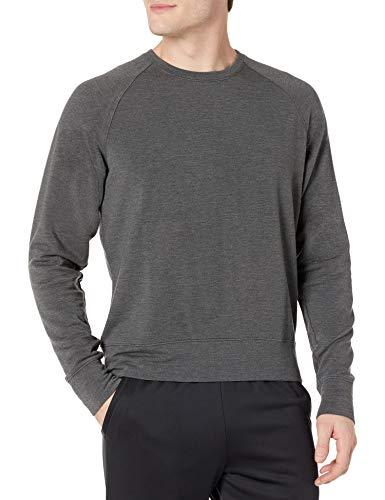 Peak Velocity Yoga Luxe Fleece Crew-neck athletic-sweatshirts, Medium Grey Heather, L
