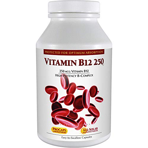 Andrew Lessman Vitamin B12 250 180 Capsules – Absorption-Protected Methylcobalamin (Natural Coenzyme Vitamin B12), Essential for Energy & Stress Support, Plus B-Complex, Easy to Swallow Capsules