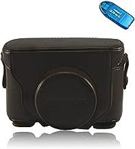 First2savvv XJPT-X10-10 dark brown full body Precise Fit PU leather digital camera case bag cover with shoulder strap for Fuji Fujifilm FinePix X10 X20 + SD CARD READER