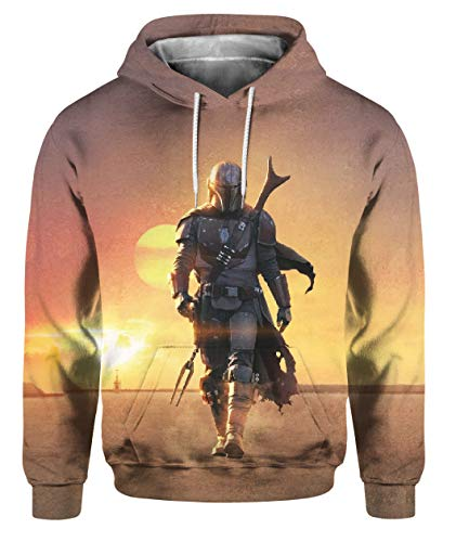 Mandalorians suéter con Capucha de los Hombres de la Pintura 3D Star Wars Bounty Hunter Vestuario de Cospaly Outwear Deporte