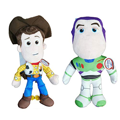 "Disney Toy Story - Pack 2 Peluches 15'75""/40cm Sheriff Woody, el Vaquero + Buzz Lightyear con Voz en español Calidad Super Soft"