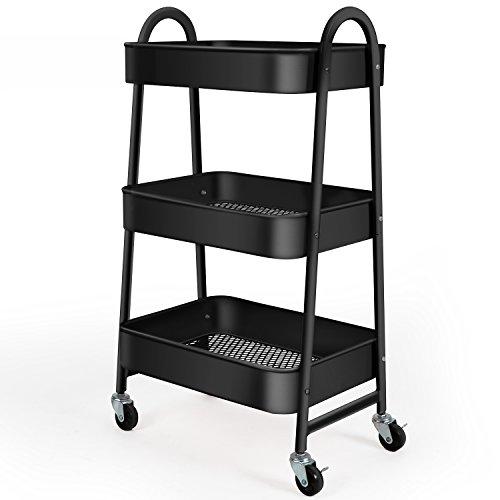 Carrito de 3 niveles con ruedas grandes de almacenamiento y metal para oficina, cocina, recámara, baño, negro, rosa, blanco 130839,...