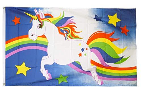 Flaggenfritze® Flagge/Fahne Einhorn blau mit Regenbogen - 90 x 150 cm