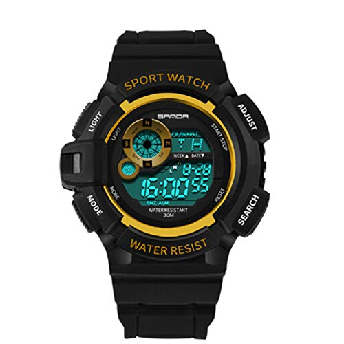 Yukio SportPlus - Herren Digital Sport Uhren - Outdoor 30m Wasserdicht Stoßfest Armbanduhr mit Kompass Uhr Digitaluhren für Herren (Gold)