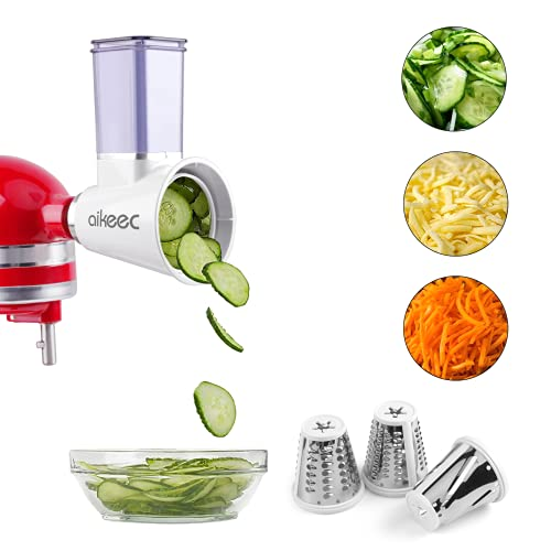 aikeec Nueva actualización Kitchen Aid MVSA Accesorio kitchen aid mesa cortadora/rebanadora para robots de cocina (accesorio opcional para batidoras de pie Kitchen Aid), Acero Inoxidable