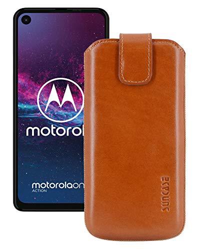 Suncase Etui Tasche kompatibel mit Motorola One Action mit ZUSÄTZLICHER Hülle/Schale/Bumper/Silikon *Lasche mit Rückzugfunktion* Handytasche Ledertasche Schutzhülle Hülle in Cognac