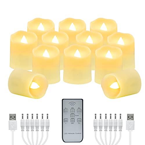 Velas de té con control remoto sin llama, 12 velas LED realistas USB con temporizador, velas falsas parpadeantes, luz de té votiva para Halloween, vacaciones, Navidad, fiesta, decoración del hogar