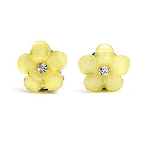 Idin Orecchini a clip - Fiore gialli con strass (ca. 16 x 16 mm)
