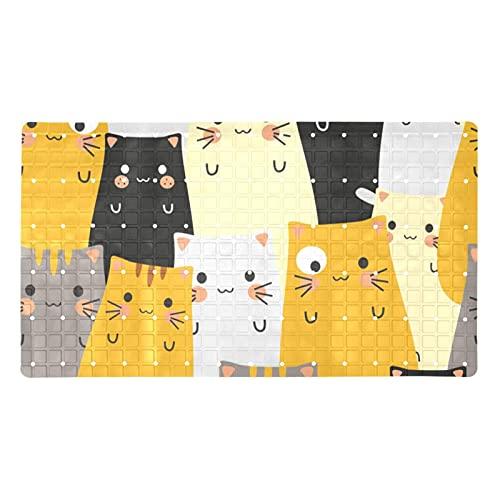 GORDESC Tapis de bain original (39,9 x 70,9 cm) - Motif têtes de chats mignons - Jaune, gris, noir - Pour adultes et enfants - Douches de salle de bain - Douches lisses et non texturées