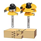 FivePears 2 Pieces of Tongue and Groove Router Bits Set with 1/4' Shank,3 Teeth T Shape Wood Milling Cutter Woodworking Tool