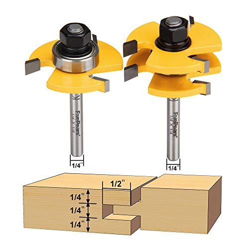 "FivePears 2 Pieces of Tongue and Groove Router Bits Set with 1/4"" Shank,3 Teeth T Shape Wood Milling Cutter Woodworking Tool"