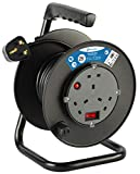 Electraline 849237 13A Cable Reel with 25M Extension Lead, 13A 3 Way Socket, with ON/Off Power Switch, Thermal Cut Out and Ergonomic Thermoplastic Handle