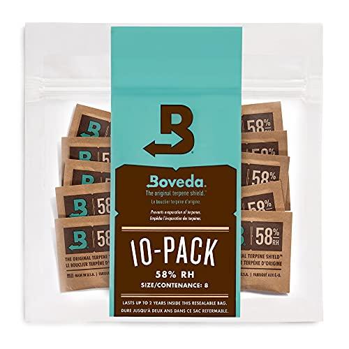 Boveda 58% Humidor Packets - 2 Way Humidity Control Packs- Size 8 - 10 Count Resealable Bag - Cigar Humidor Accessories - Bulk Humidity Packs - Relative Humidity Packs - Humidor Packet