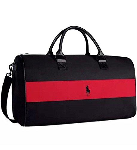 Ralph Lauren Reisetasche, schwarz mit einem roten Streifen