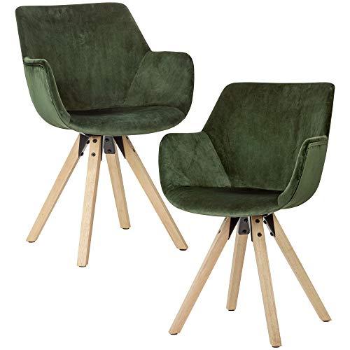 FineBuy Gemütliches Esszimmerstuhl 2er Set mit Armlehnen in Grün | Samt Küchenstühle Modern mit Holzbeinen | Schalenstuhl Gepolstert