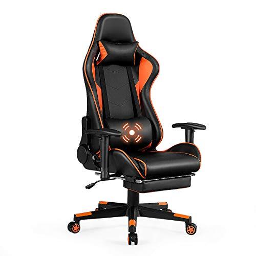 Giantex Massage Gaming Chair, High Back Ergonomic Adjustable Reclining Racing Chair with USB Massage Lumbar Pillow, Headrest, Footrest, Lumbar Support, PU Leather Gaming Desk Chair (Orange & Black)