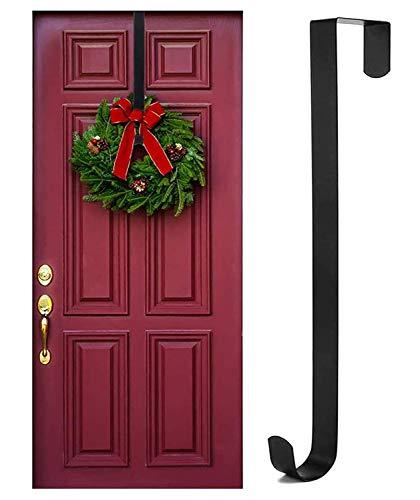 Rucoe Kranz Aufhänger Weihnachtskranz Türhaken - 38cm Tür Haken,Ohne Bohren Türaufhänger,Haken für Türkranz,Türkranz Herbst,Maximale Belastung 6 Kg(Schwarz)