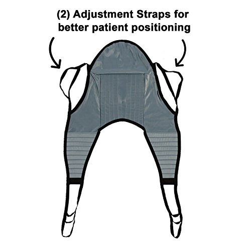 Patient Aid Padded U-Sling with Head Support, Universal Patient Lift Sling, Size Medium, 600lb Capacity