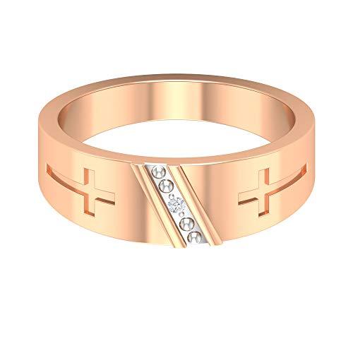 Cross Boda Banda, Anillo de compromiso para hombre, Anillo redondo de diamantes HI-SI, Anillo religioso cristiano, Anillo de aniversario para él, 10K Oro rosa, Size:EU 58