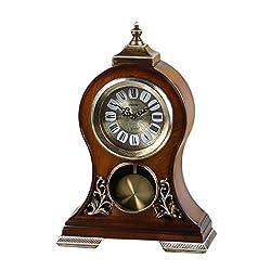 CLOCKZHJI Desk Clock and Shelf Clock Retro Mantel/Mantle Rhythm Quartz Clock Living Room Desk Shelf Clocks Decoration