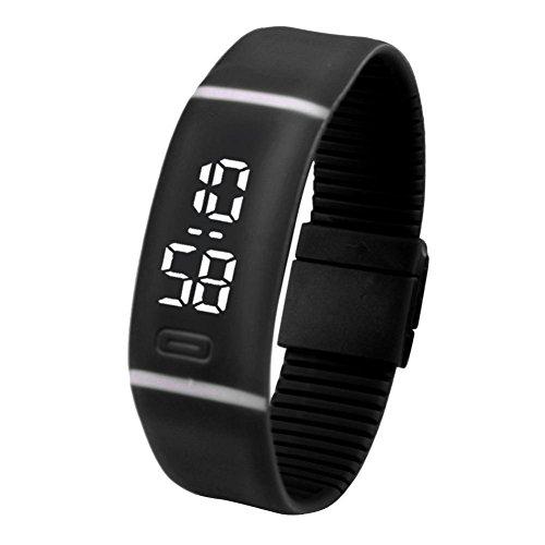 LSAltd Herren Damen LED Digitaluhr Unisex Gummi Datum Sport Armbanduhr Armband Geschenk (Schwarz)