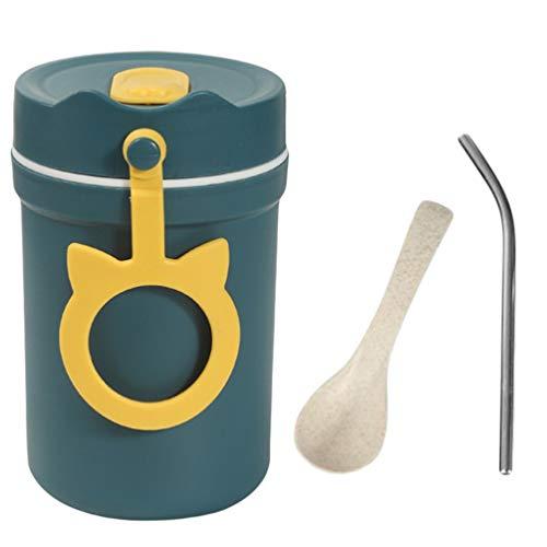 Cabilock Porta-mingau de sopa de 330 ml para estudantes, café-da-manhã, garrafa isolante, recipiente de comida com colher e 304 canudos (azul)