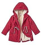 Cremson Girls Plush Lined Hooded Warm Winter Anorak Outerwear Jacket Parka Coat - Maroon (Size 6)