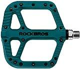 ROCKBROS Pedales de Bicicleta de Nylon Antideslizante Ligeros con Rodamiento Sellado para MTB Bici de Carretera Bici Plegable (Azul Verde)