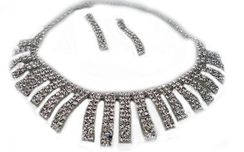 Unbekannt Schmuckset Halskette und Ohrringe Collier Strass Perlen Hochzeit Brautschmuck