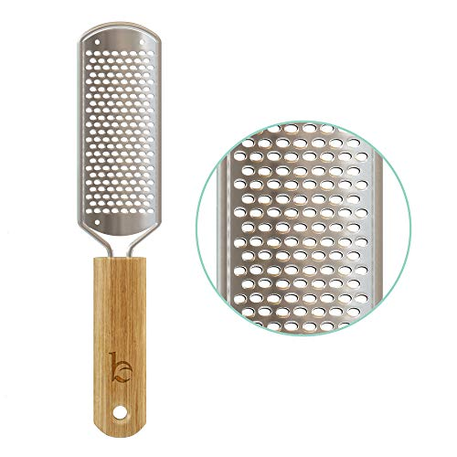 Foot File - Callus Remover Tool for Dead Skin Removal, At Home Pedicure Tools, Foot Rasp Callus Remover Feet and Heels, Smooth Soft Feet Using a Grater & Scraper (Bamboo & Stainless Steel) (1 Pack)