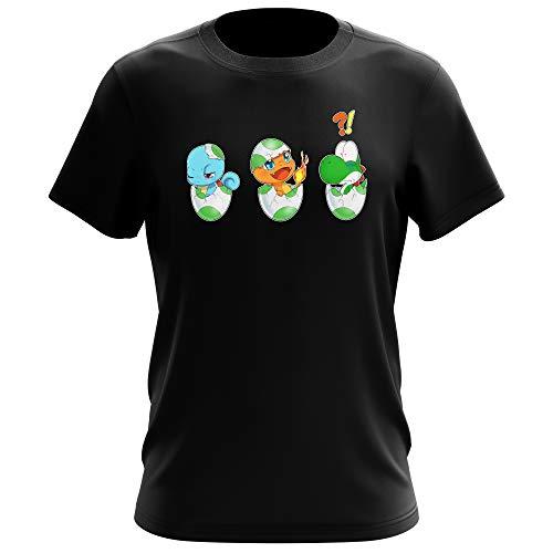Yoshi - Pokémon Lustiges Schwarz T-Shirt - Yoshi, SCHIGGY und GLUMANDA (Yoshi - Pokémon Parodie) (Ref:885)