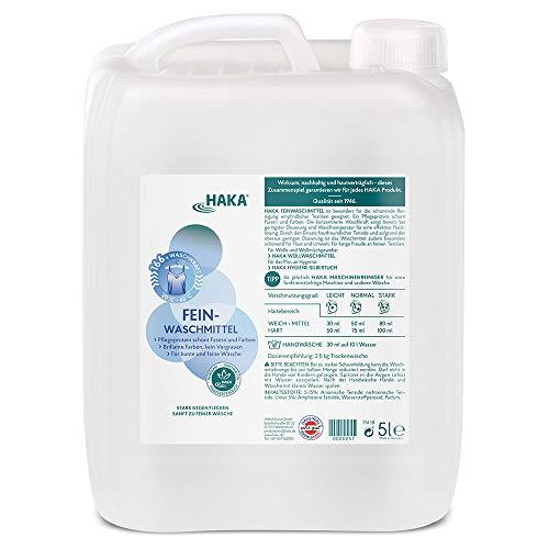 HAKA Feinwaschmittel I 5 Liter Nachfüllkanister I Flüssigwaschmittel für Feines und Buntes I 166 Wäschen I Umweltfreundliches Waschmittel für Seide & Dunkle Wäsche