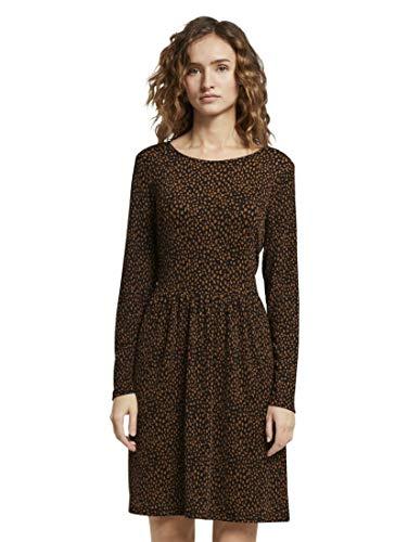 TOM TAILOR DENIM Damen Jersey Minikleid Lässiges Kleid, Black Leo Print, L