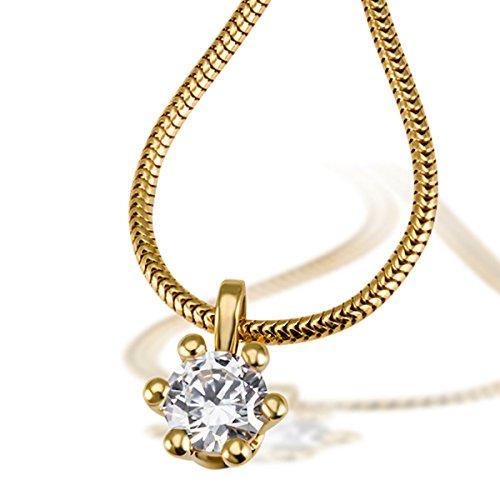 Goldmaid Damen-Kette mit Anhänger Solitär 6er Stotzen 750 Gold 1 Brillant 0.50 ct. SI1 weiß inklusive externer Expertise