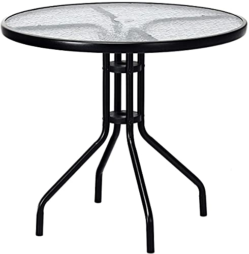 Comforyou 80cm Round Garden Dining Table With Umbrella hole Outdoor Table with Tempered Water Wave Glass Top Metal Frame Coffee Table (80cm Round)