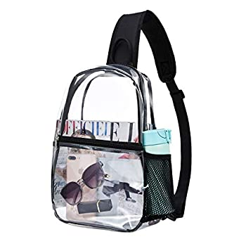 Clear Bag Backpack See through - Sling Transparent PVC Crossbody Shoulder Bag Stadium Approved Chest Daypack for Men and Women